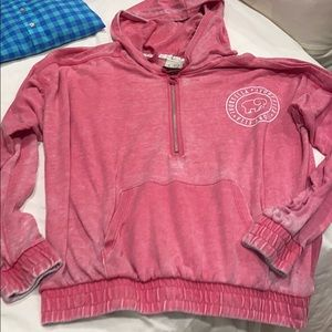 XL ivory Ella hoodie pink French terry